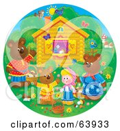 Royalty Free RF Clipart Illustration Of A Round Scene Of Bears And A Girl Outside A Cottage by Alex Bannykh