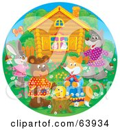 Royalty Free RF Clipart Illustration Of A Round Scene Of Happy Animals By A Tree Stump In Front Of A Cabin