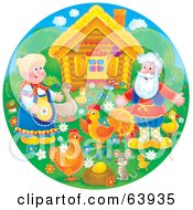 Royalty Free RF Clipart Illustration Of A Round Scene Of A Man And Woman With Their Birds Mouse And Golden Egg