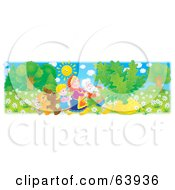 Royalty Free RF Clipart Illustration Of A Mouse Cat Dog Girl Grandmother And Grandfather Pulling A Giant Turnip by Alex Bannykh
