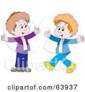 Royalty Free RF Clipart Illustration Of Two Happy Boys Walking Toward Each Other With Their Arms Open