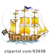 Royalty Free RF Clipart Illustration Of A Large Pirate Ship With A Flag And Sails