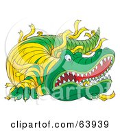 Royalty Free RF Clipart Illustration Of A Mean Crocodile With Bandages by Alex Bannykh