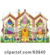 Royalty Free RF Clipart Illustration Of A Pretty Whimsical House With Lush Gardens And Vines