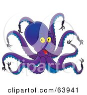Royalty Free RF Clipart Illustration Of A Purple Octopus With Strange Tentacles by Alex Bannykh