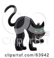Royalty Free RF Clipart Illustration Of A Sneaky Black Cat With Green Eyes
