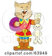 Royalty Free RF Clipart Illustration Of A Cat Puss Holding A Rabbit By The Ears by Alex Bannykh