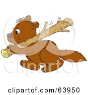 Royalty Free RF Clipart Illustration Of A Working Brown Beaver Carrying A Wood Log by Alex Bannykh
