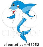 Royalty Free RF Clipart Illustration Of A Friendly Blue And White Dolphin With Brown Eyes by Alex Bannykh