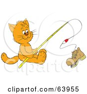 Royalty Free RF Clipart Illustration Of A Kitty Cat Reeling In A Boot On A Fishing Pole by Alex Bannykh