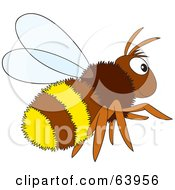 Royalty Free RF Clipart Illustration Of A Furry Brown And Yellow Bee