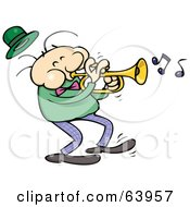 Royalty Free RF Clipart Illustration Of A Trumpet Musician In A Dark Green Shirt by gnurf