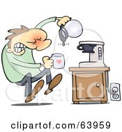 Royalty-Free (RF) Clipart Illustration of a Flustered Man Discovering That The Coffee Pot Is Empty by gnurf #COLLC63959-0050