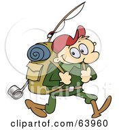 Royalty Free RF Clipart Illustration Of A Happy Male Hiker Carrying Camping Gear