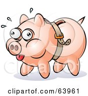 Royalty Free RF Clipart Illustration Of A Piggy Bank Being Squeezed By A Belt