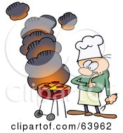 Royalty Free RF Clipart Illustration Of A Nervous Man Watching Meat Cook On A Smoking Bbq Grill