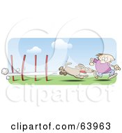Royalty Free RF Clipart Illustration Of A Man Running Alongside His Dog In An Agility Course by gnurf