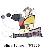 Royalty Free RF Clipart Illustration Of A Happy Skipper Steering A Steam Boat by gnurf #COLLC63965-0050
