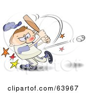 Royalty Free RF Clipart Illustration Of A Focused Athlete Hitting A Baseball With A Bat
