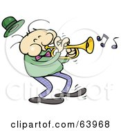Royalty Free RF Clipart Illustration Of A Trumpet Musician In A Light Green Shirt by gnurf