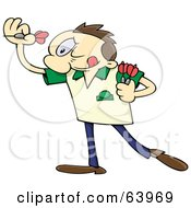 Royalty Free RF Clipart Illustration Of A Focused Man Aiming And Throwing Darts