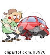 Royalty Free RF Clipart Illustration Of A Flustered Man Jacking Up His Red Car To Change A Flat Tire by gnurf