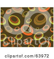 Royalty Free RF Clipart Illustration Of A Brown Retro Background Of Yellow And Orange Circles