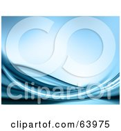 Royalty Free RF Clipart Illustration Of Swooshes Of Blue Water Over Blue