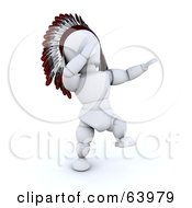 Royalty Free RF Clipart Illustration Of A 3d White Character Native American Singing And Dancing At A Pow Wow by KJ Pargeter
