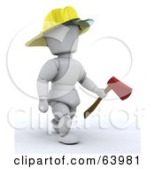 Royalty Free RF Clipart Illustration Of A 3d White Character Fireman Wearing A Hardhat And Carrying An Axe