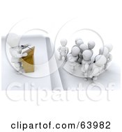 Royalty Free RF Clipart Illustration Of A 3d White Character Giving A Speech To Patient Listeners