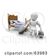 3d White Character Traveler Moving Luggage In A Hotel Room