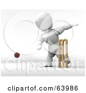 Royalty Free RF Clipart Illustration Of A 3d White Character Engaged In A Game Of Cricket Version 1