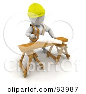 3d White Character Wearing A Vest And Hardhat And Sawing Wood On A Saw Horse