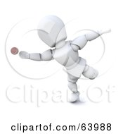 Royalty Free RF Clipart Illustration Of A 3d White Character Engaged In A Game Of Cricket Version 4