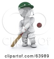 Royalty Free RF Clipart Illustration Of A 3d White Character Cricketer Version 1
