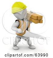 3d White Character Construction Worker Wearing A Hardhat And Vest And Carrying A Saw And Lumber