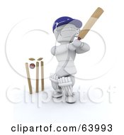 Royalty Free RF Clipart Illustration Of A 3d White Character Cricketer Version 7 by KJ Pargeter