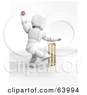 Royalty Free RF Clipart Illustration Of A 3d White Character Engaged In A Game Of Cricket Version 3 by KJ Pargeter