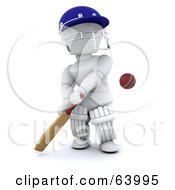 Royalty Free RF Clipart Illustration Of A 3d White Character Cricketer Version 2