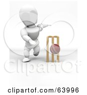 Royalty Free RF Clipart Illustration Of A 3d White Character Engaged In A Game Of Cricket Version 2