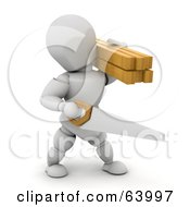 Royalty Free RF Clipart Illustration Of A 3d White Character Construction Worker Carrying A Saw And Lumber