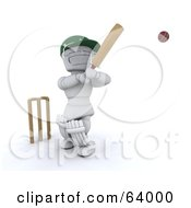 Royalty Free RF Clipart Illustration Of A 3d White Character Cricketer Version 5 by KJ Pargeter
