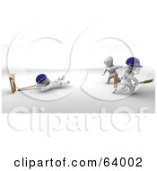 Royalty Free RF Clipart Illustration Of 3d White Characters Playing A Game Of Cricket Version 3