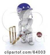 Royalty Free RF Clipart Illustration Of A 3d White Character Cricketer Version 3