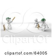 Royalty Free RF Clipart Illustration Of 3d White Characters Playing A Game Of Cricket Version 1 by KJ Pargeter