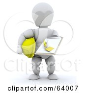 Royalty Free RF Clipart Illustration Of A 3d White Character Contractor Holding A Clipboard by KJ Pargeter