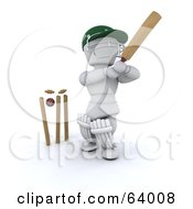 Royalty Free RF Clipart Illustration Of A 3d White Character Cricketer Version 6 by KJ Pargeter