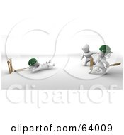 Royalty Free RF Clipart Illustration Of 3d White Characters Playing A Game Of Cricket Version 4 by KJ Pargeter