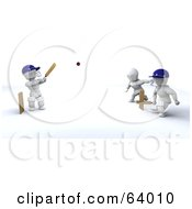 Royalty Free RF Clipart Illustration Of 3d White Characters Playing A Game Of Cricket Version 2